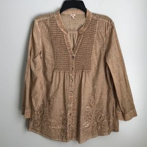 Reba Beige Embroidered Embellished Blouse